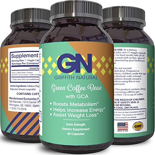 100% Pure Green Coffee Bean Extract Weight Loss Supplements with Chlorogenic Acid Metabolism Enhancement Appetite Suppressant For Obesity Burn Fat Natural Detox Health Benefits by Griffith Natural