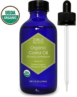 Zongle USDA Certified Organic Castor Oil, Cold Pressed, Ricinus Communis, 4 oz