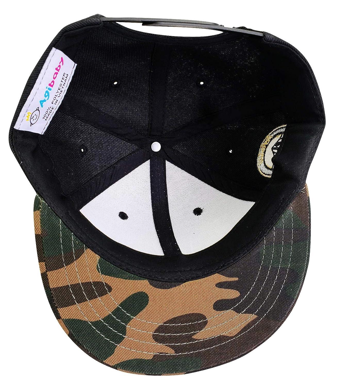0987017f8c8 Amazon.com  Agibaby Infant   Toddler Kids Snapback Flat Brim Hat Baseball  Cap- Metallic 3D American Flag (Black on Camo)  Clothing