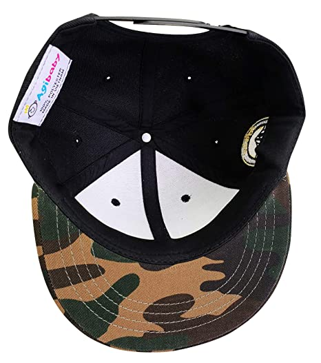 c668be1518c Amazon.com  Agibaby Infant   Toddler Kids Snapback Flat Brim Hat Baseball  Cap- Metallic 3D American Flag (Black on Camo)  Clothing