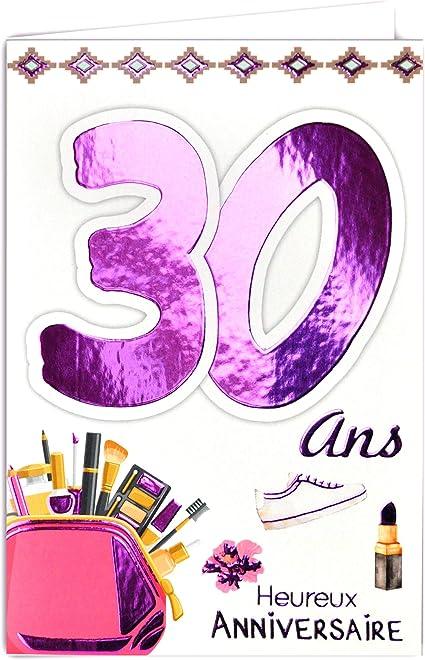 Afie 69 2129 Carte Anniversaire 30 Ans Femme Belle Feminine Beaute Maquillage Chaussure Talon Aiguille Mode Amazon Fr Fournitures De Bureau