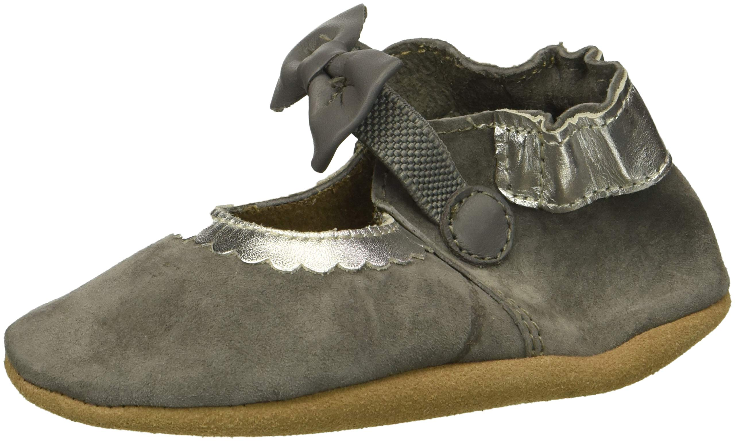 Robeez Girls' Mary Jane Soft Soles Crib Shoe, Keeping It Classy Grey, 6-12 Months M US Infant