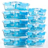 Glass Meal Prep Containers, [10 Pack] Glass Food Storage Containers with Lids, Airtight Glass Bento Boxes, BPA Free & Leak Proof (10 Lids & 10 Containers) (Color: Blue)