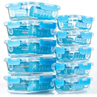 [10-Pack] Glass Meal Prep Containers - Food Storage Containers with Airtight Lids for Kitchen, Home Use - Glass Lunch Containers