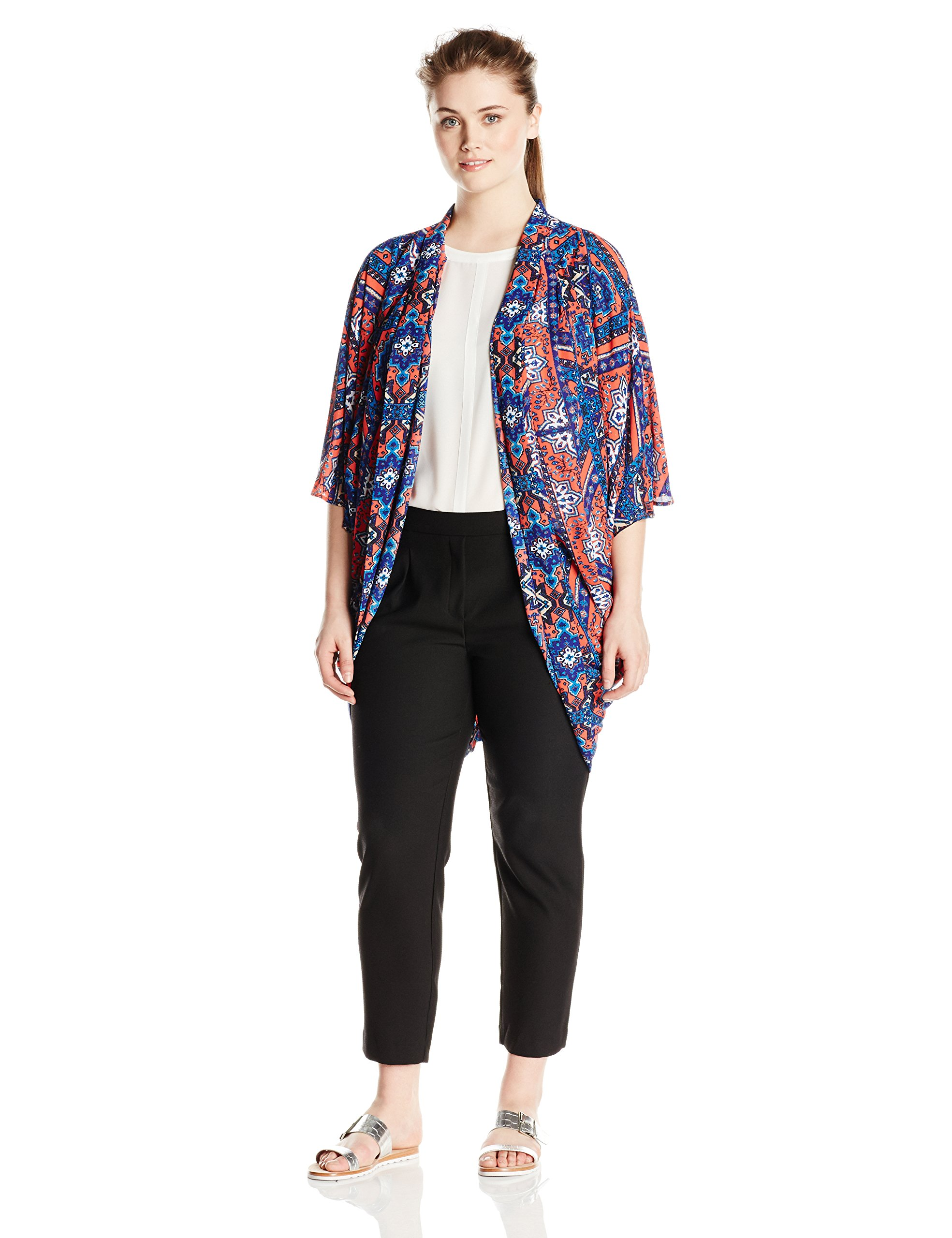 Single Dress Women's Plus Size Cocoon Kimono, Blue/Multi, 2X