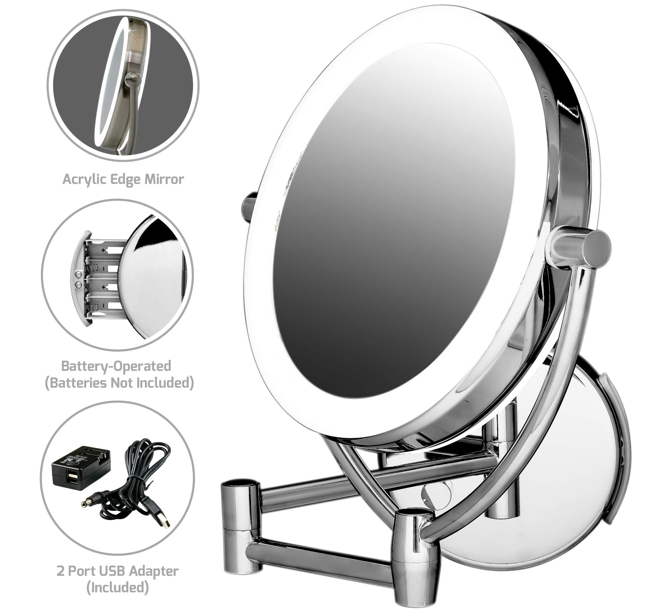Ovente LED Lighted Wall Mount Makeup Mirror, 7.5 Inch, Battery or USB Adapter Operated, 1x/10x Magnification, Polished Chrome (MLW75CH) by Ovente