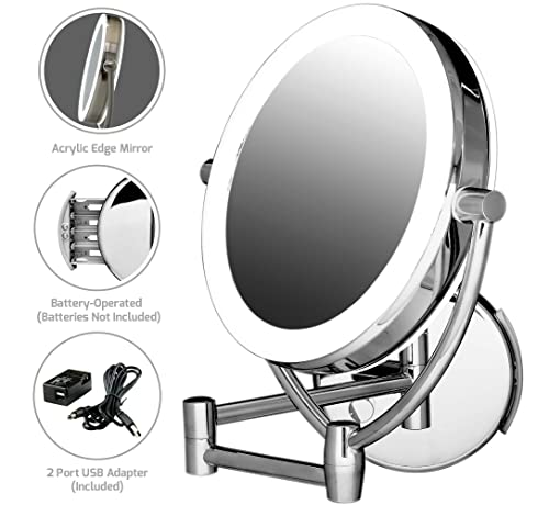 Ovente Dual Sided Wall Mounted Vanity Mirror 7.5 Inch Polished Chrome 1X 10X Magnification with Dimmable Cool LED Lights MLW75CH1X10X