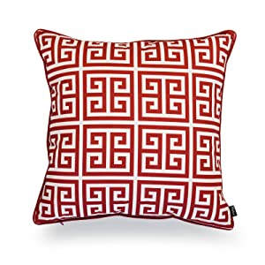 """Hofdeco Valentine Indoor Outdoor Pillow Cover ONLY, Water Resistant for Patio Lounge Sofa, Red White Greek Key, 18""""x18"""""""