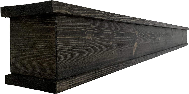 Rustic Mantle | Fireplace Mantel for Decor | Wood Mantel Shelf | Made in USA | Floating Shelf | Farmhouse Fireplace Surround | Long Shelf for Fireplace (Weathered Black, 60 Inch)