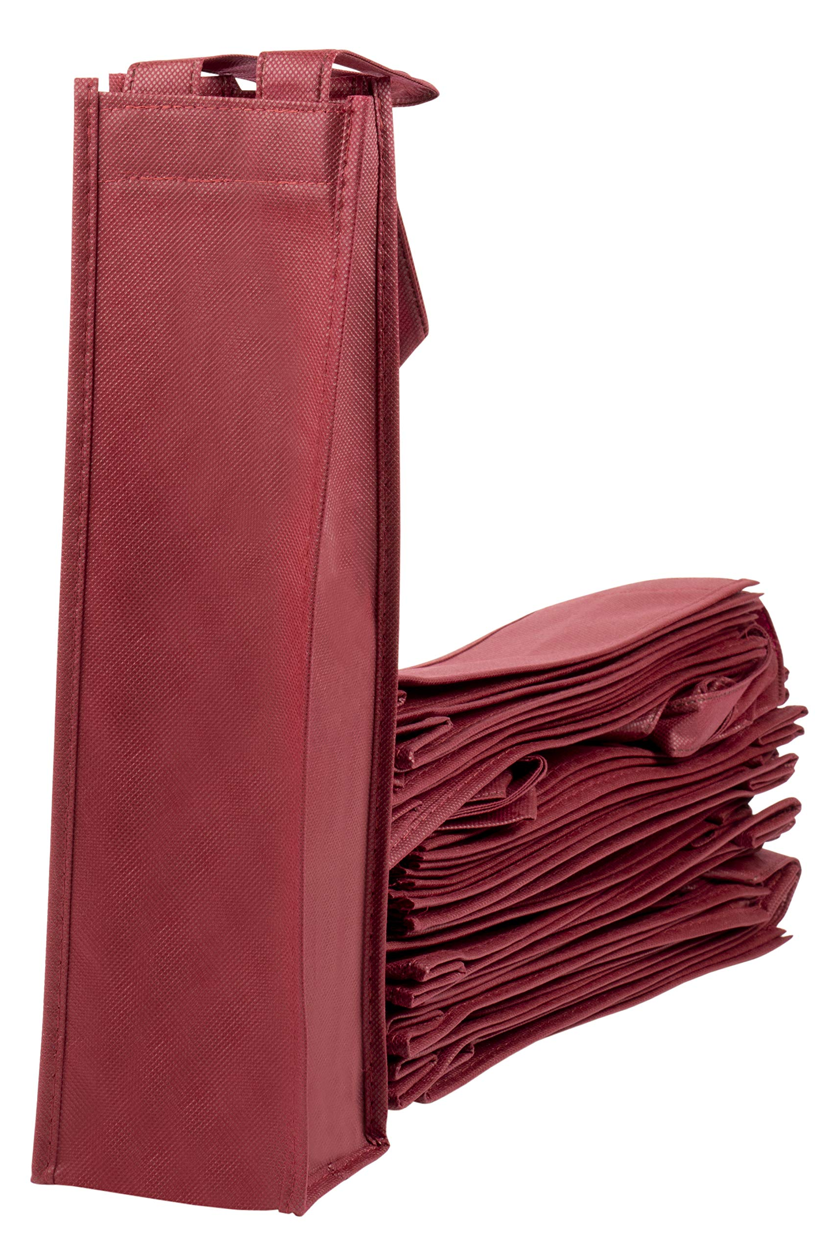 Wine Tote Bags - 20-Pack Non-Woven Single Bottle Wine Totes, Reusable Wine Carrying Bags, Ideal Bottle Gift Bags for Wedding, Birthday, Housewarming, Dinner Parties, Wine Accessories, Burgundy