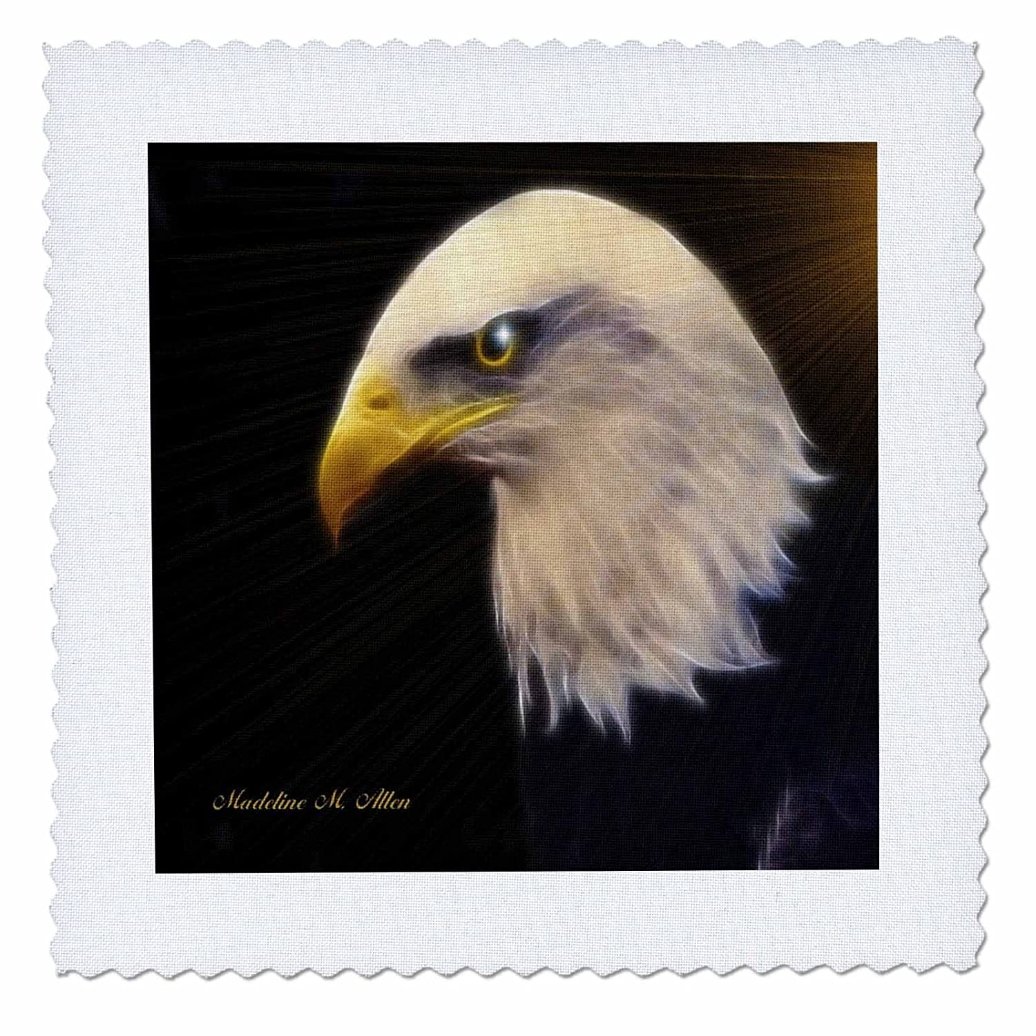 3dRose American Bald Eagle 10 by 10-inch A qs/_8390/_1 Quilt Square