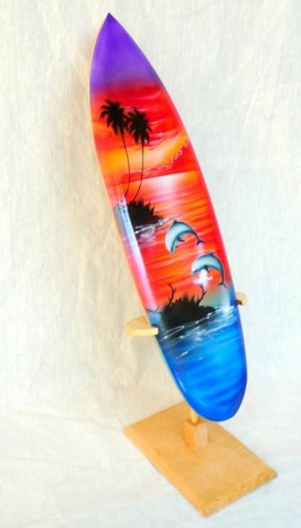 Deko Tabla de Surf SURF Madera onda Jinete Altura 20 cm, incluye soporte de madera