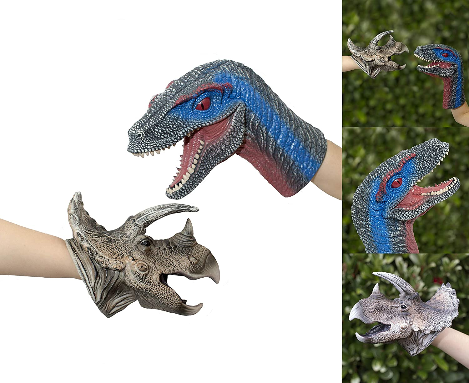 REALISTIC VELOCIRRAPTOR AND TRICERATOP HAND PUPPETS