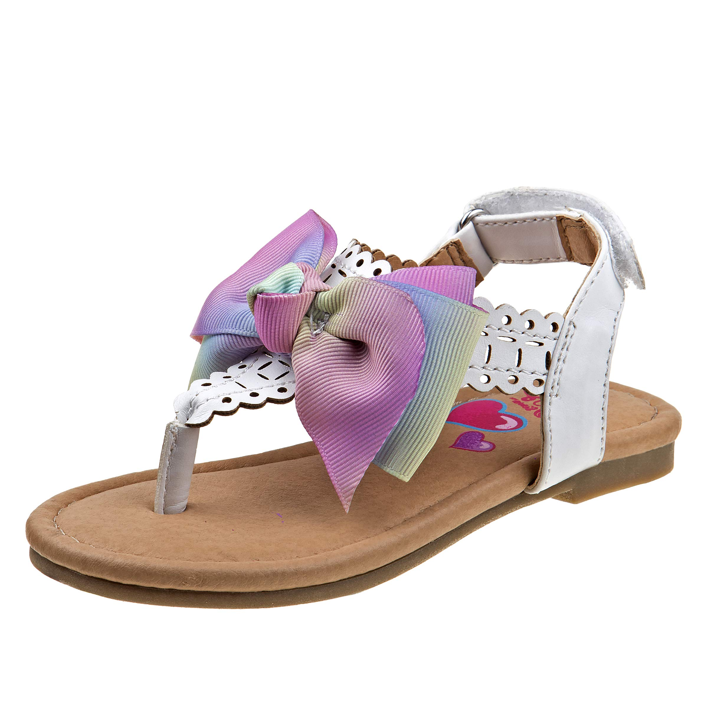 JoJo Siwa Girls' Thong Sandals with Signature Bow and Easy Heel Strap (Toddler/Little Kid/Big Kid), White with Bow, Size 9 M US Toddler'
