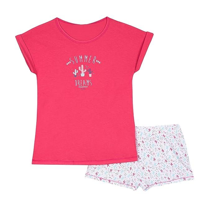 Dim Pyjama Court, Conjuntos de Pijama para Niñas, Rojo (Passion 96),