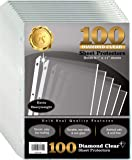 "100 Count Diamond Clear Extra Heavyweight Sheet Protectors, 4 mils Strong, by Gold Seal, 8.5 x 11"", Top Load, 100 Pack"