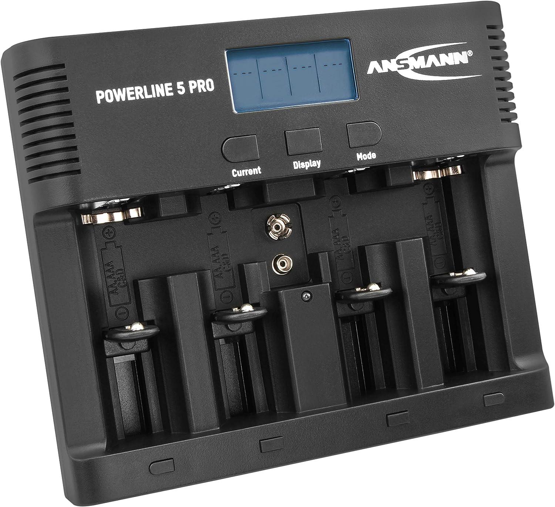 ANSMANN Cargador Universal de baterías Powerline 5 Pro - para 1-4 baterías AAA/AA C D y 9V - Estación de Carga con Puerto USB y multifunción