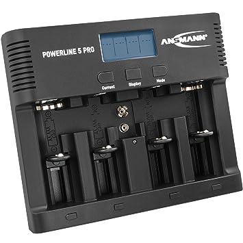 ANSMANN Cargador Universal de baterías Powerline 5 Pro - para 1-4 baterías AAA/AA CD y 9V - Estación de Carga con Puerto USB y multifunción