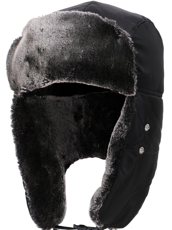 8e49fadf3ea80e Simplicity Women Men's Weatherproof Faux Fur Lined Trapper Hat w/Earflaps  Black at Amazon Men's Clothing store:
