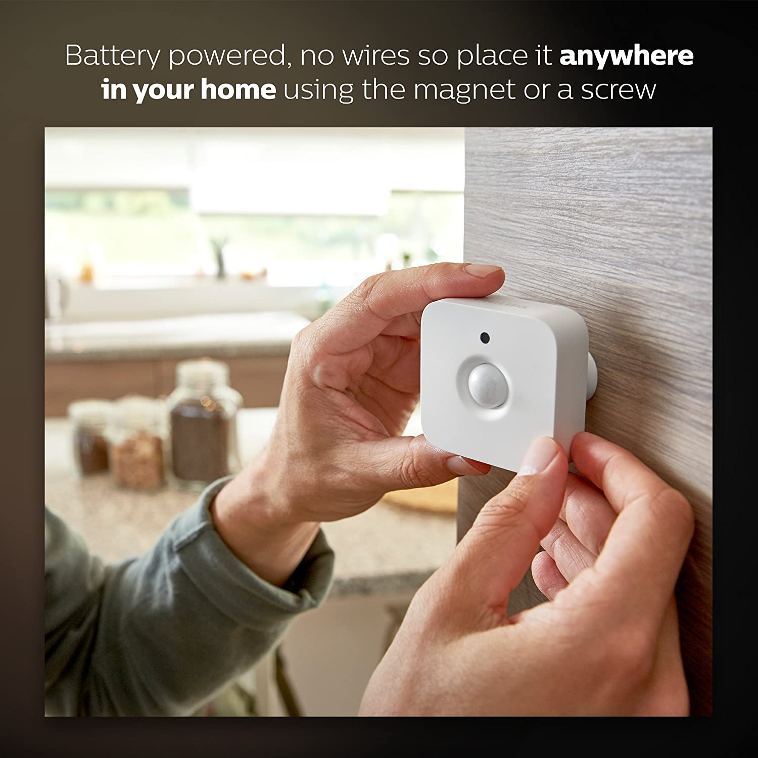 Philips Hue Motion Sensor for Smart Lights (Installation-Free, Smart Home, Exclusively for Philips Hue Smart Bulbs)