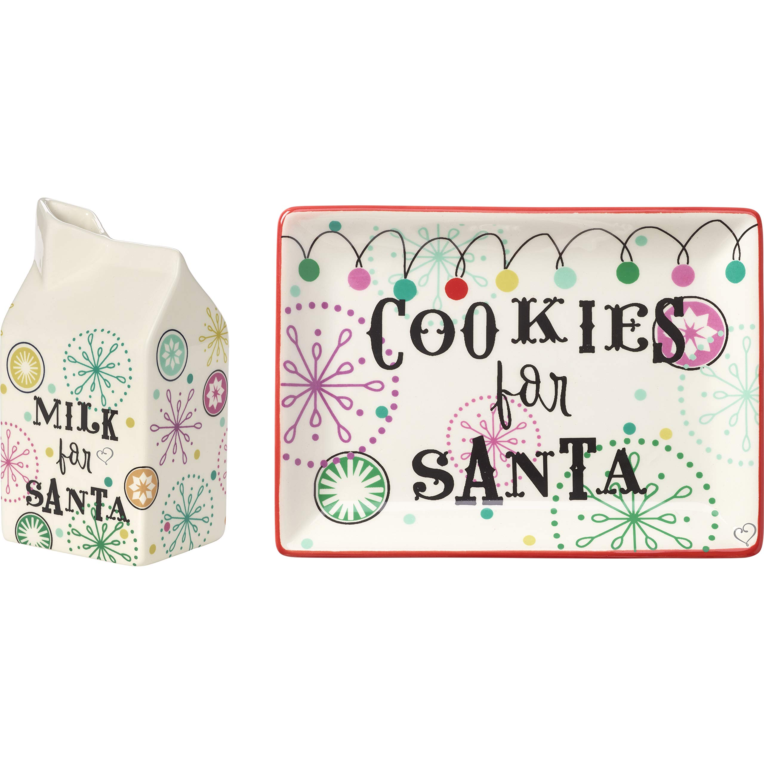 Precious Moments Set of 2 Cookie 191427 Milk Carton & Cookie Plate, One Size, Multi