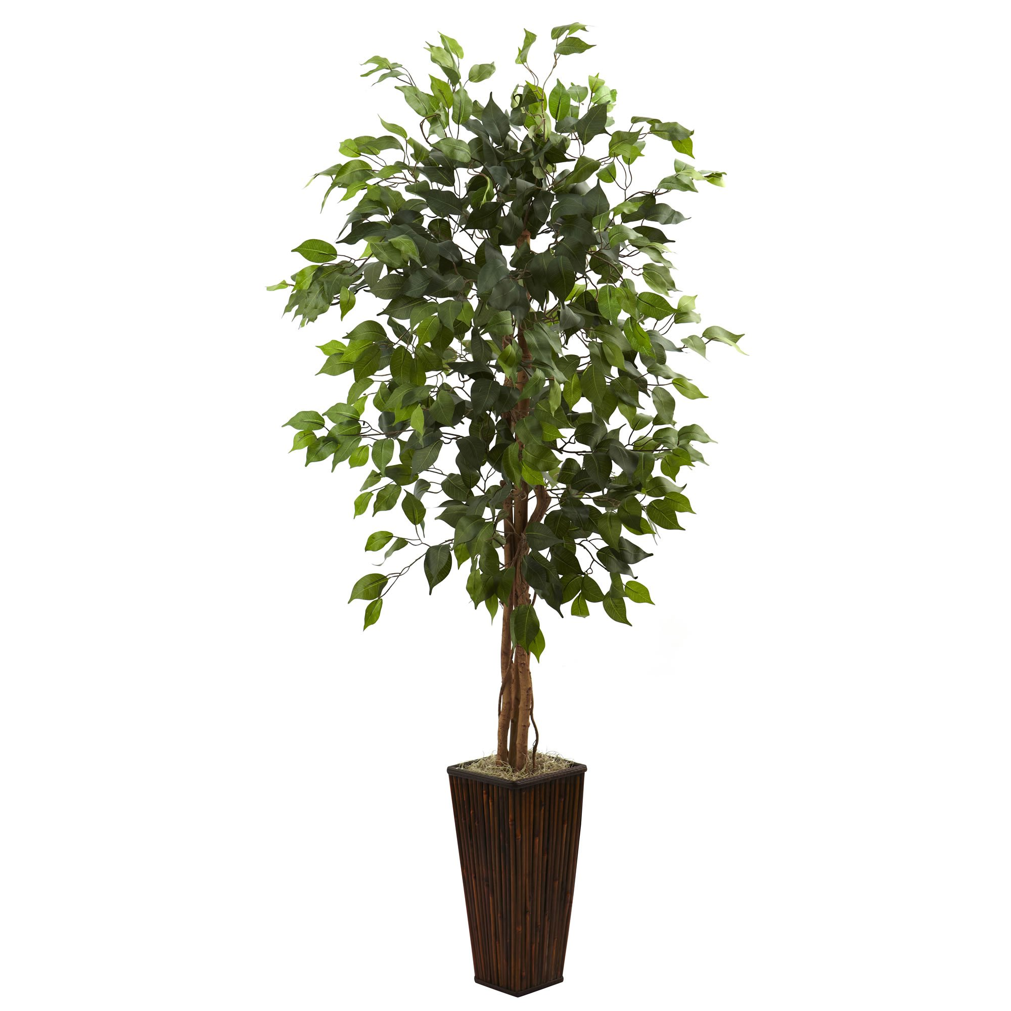 Nearly Natural 5924 5.5-Feet Ficus Tree with Bamboo Planter, Green