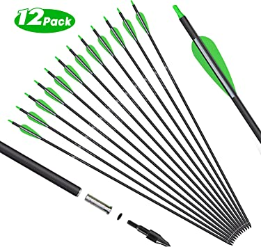 "32/"" Brand New 31.5/"",30/"" 12 X Fibreglass Archery Arrows Screw on//off Tip  32/"""