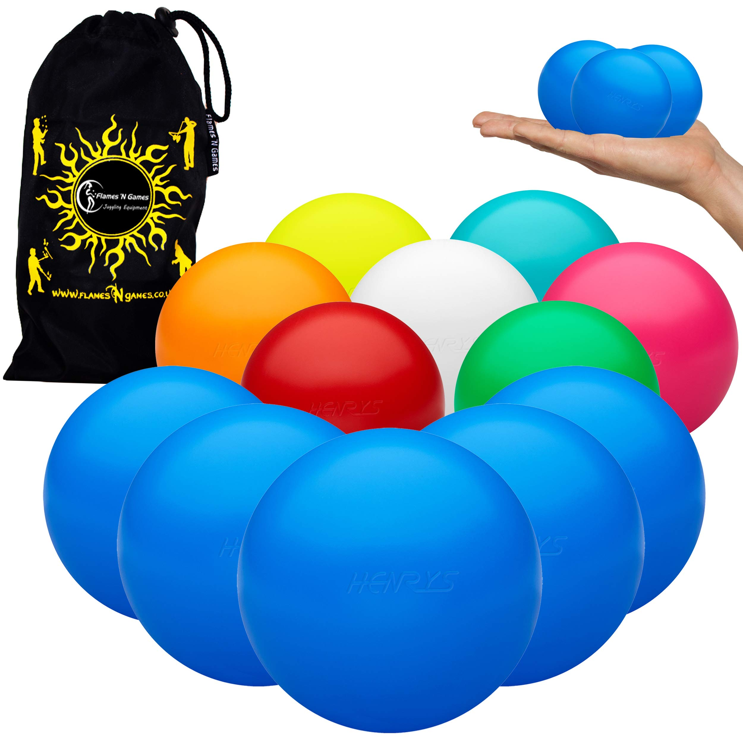 Henrys Set of 5 TPU 62mm HiX-Ball Hybrid Juggling Balls + Bag - World's First PVC-Free Pro Juggling/Stage Balls for All Abilities! (Green) by Henrys / Flames N Games