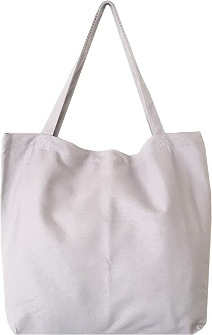 Stylish Beach Tote Bag Canvas Shopper Shoulder With Large Capacity Grey