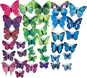 Emotionlin 36 Pcs PVC 3D Butterfly Wall Decor Cute Butterflies Wall Stickers Art Decals Home Decoration Room Suitable for Christmas,Halloween,Children's Gifts, Birthday Parties