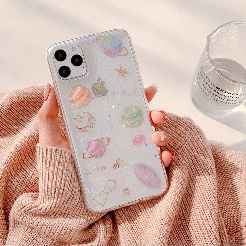 Tybaker Funda para iPhone 11 Pro MAX iPhone XS MAX con Flores auténticas, Transparente, de Goma, Hecha a Mano, de Colores Secos