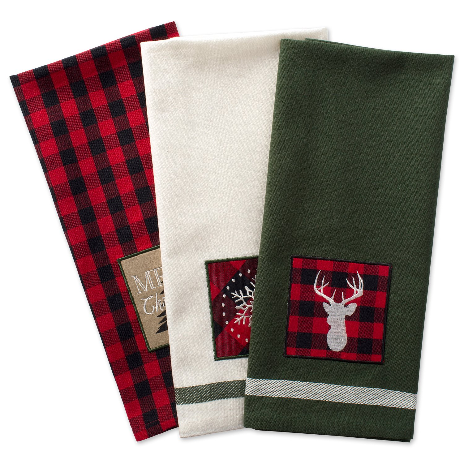 DII Cotton Christmas Holiday Dish Towels, 18x28'' Set of 3, Decorative Oversized Kitchen Towels, Perfect Home and Kitchen Gift-Christmas Fireside