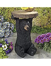 Bits and Pieces - Decorative Bear Patio Side Table - Realistic Accent Black Bear End Table - Great for Cabin Decoration - Indoor or Outdoor Decorative Table - Resin Sculpture