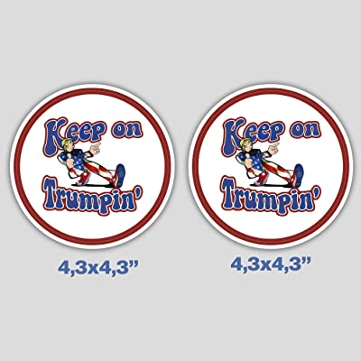 Set of 2 Keep On Trumpin Sticker Decal Vinyl for Car Bumper Truck Window Laptop: Kitchen & Dining