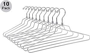 10 Quality Metal Hangers, Swivel Hook, Stainless Steel Heavy Duty Wire Clothes Hangers (10, Standard - 17