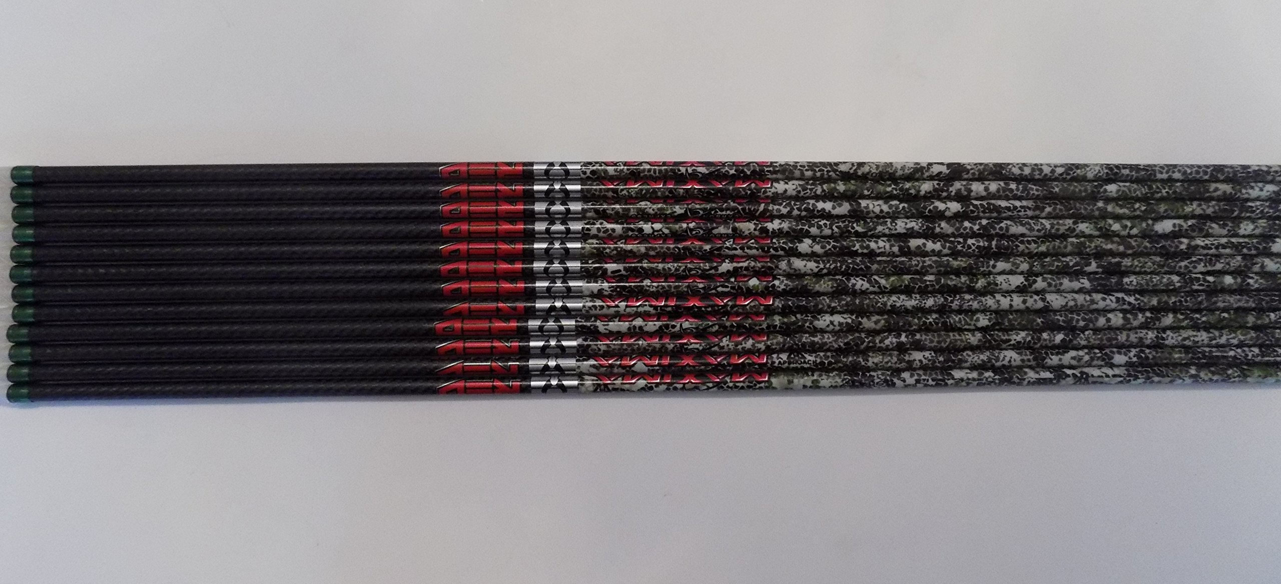 Carbon Express Maxima Red Badlands SD 350 Carbon Arrows Bullseye Green Spray Wraps w/Blazer Vanes 1 Dz.