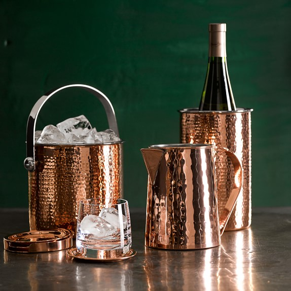Hammered-Copper​ Ice Bucket With Lid | Williams Sonoma