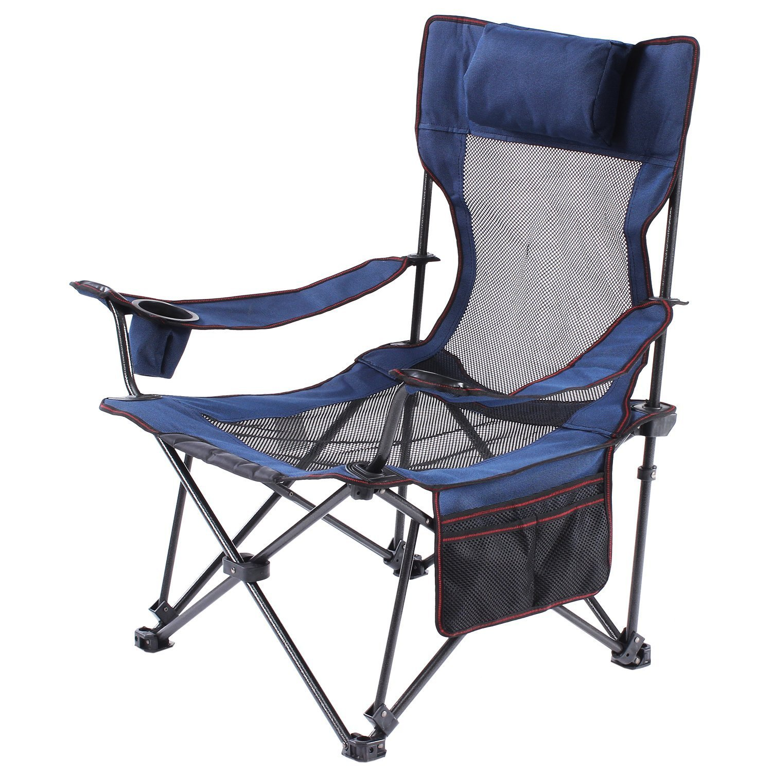 Folding Quad Chair Lumbar Back Support Light Weight Portable Padded Oversize with Cooler and Armrest for Camp Carry Bag Included [並行輸入品] B075K4CW18