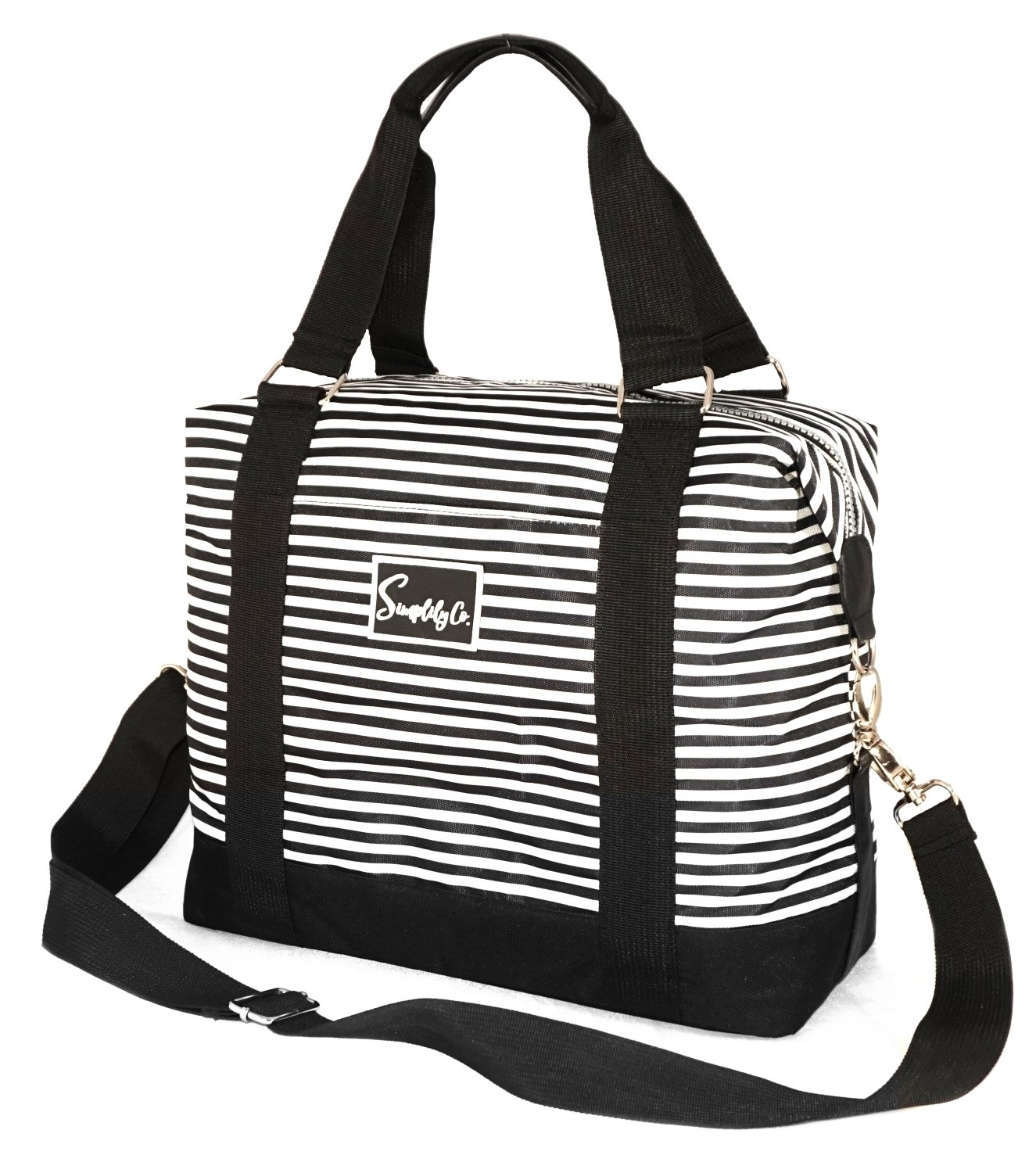 Travel Weekender Overnight Carry-on Under the Seat Shoulder Tote Bag (Small, Black & White Polka Dot) Simplily Co.