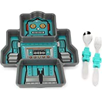 KidsFunwares Robot Me Time Meal Set with Portion Control Divided Plate, and Fork and Spoon for Kids