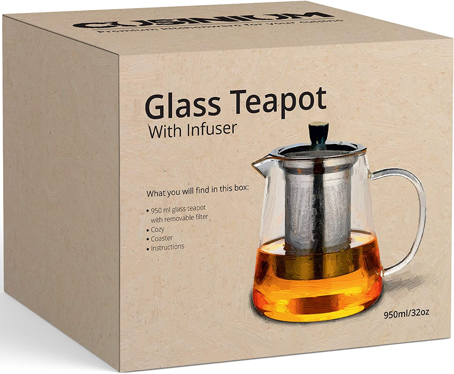 Amazon Com 32 Oz Gift Box Stovetop Safe Teapot With Infuser For Loose Tea Tea Diffuser Pot With Teapot Warmer Cozy And Bamboo Kettle Trivet Teapots
