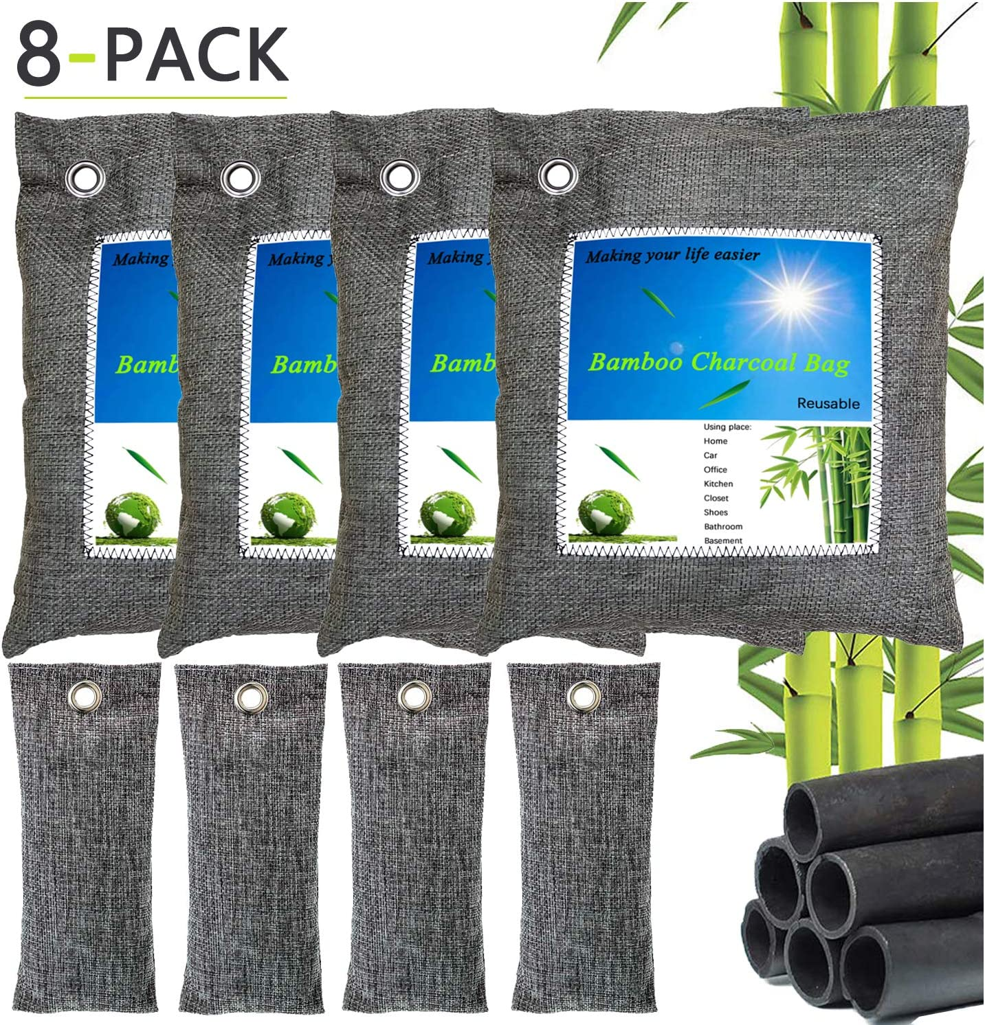Bamboo Charcoal Bags 8 Pack Activated Charcoal Bag for Home,Kitchen Car, Closet, Shoes, Basement, Bathroom, Pet (4X200g,4X50g)