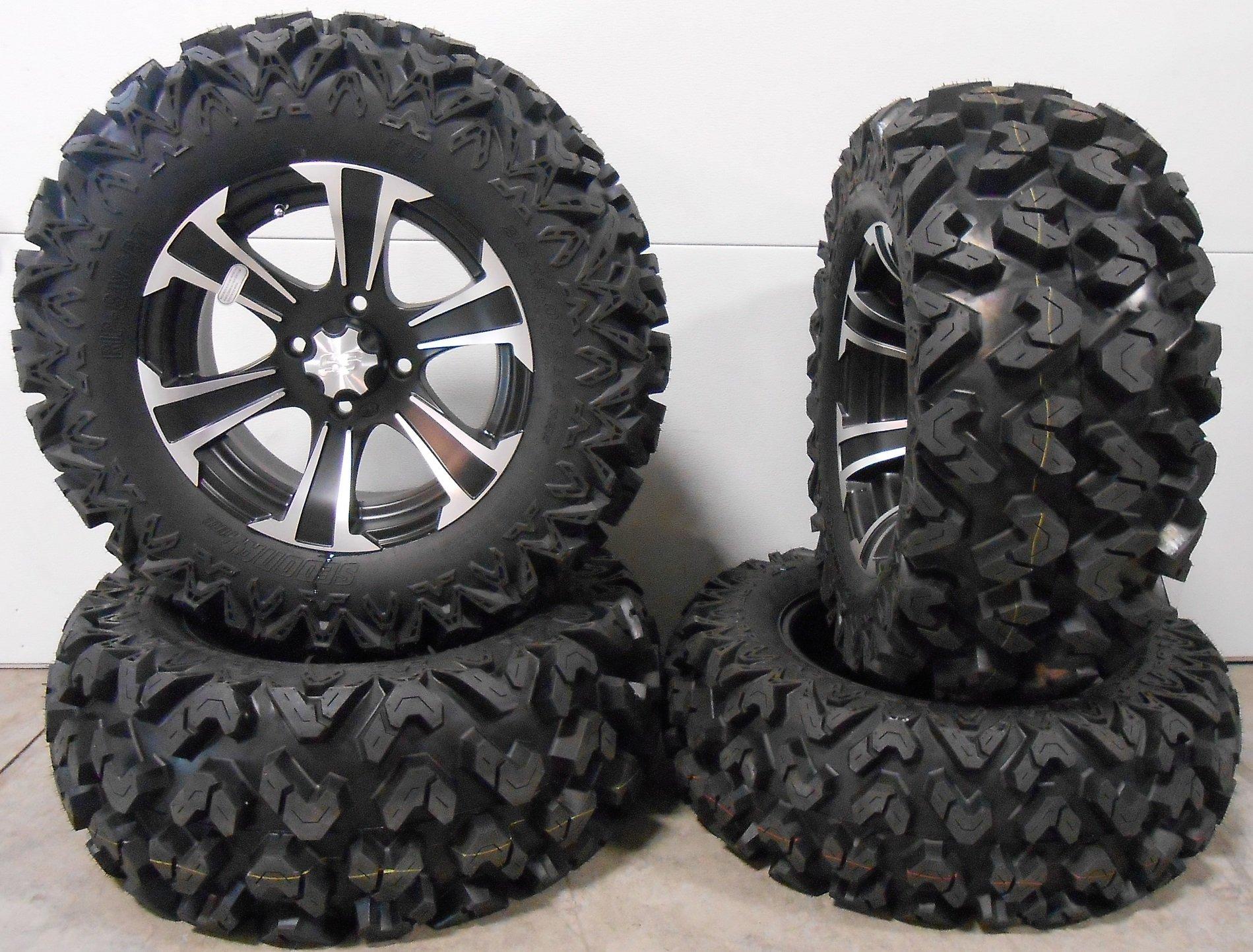 Bundle - 9 Items: ITP SS312 14'' Wheels Black 26'' Rip Saw Tires [4x110 Bolt Pattern 10mmx1.25 Lug Kit] by Powersports Bundle (Image #1)