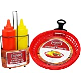 Burger Serving Set For 4 – Paper Plate Holders, Mustard and Ketchup Set With Caddy