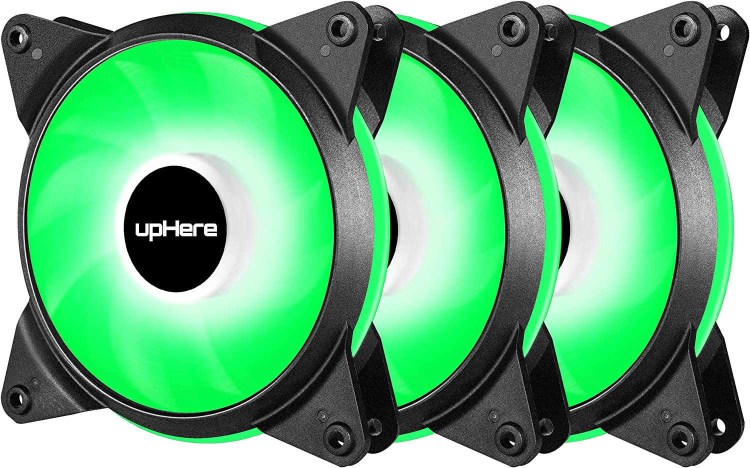 upHere 3-Pack High Airflow Quiet Edition Green LED Case Fan pwm 4in for PC Cases T4GN4-3