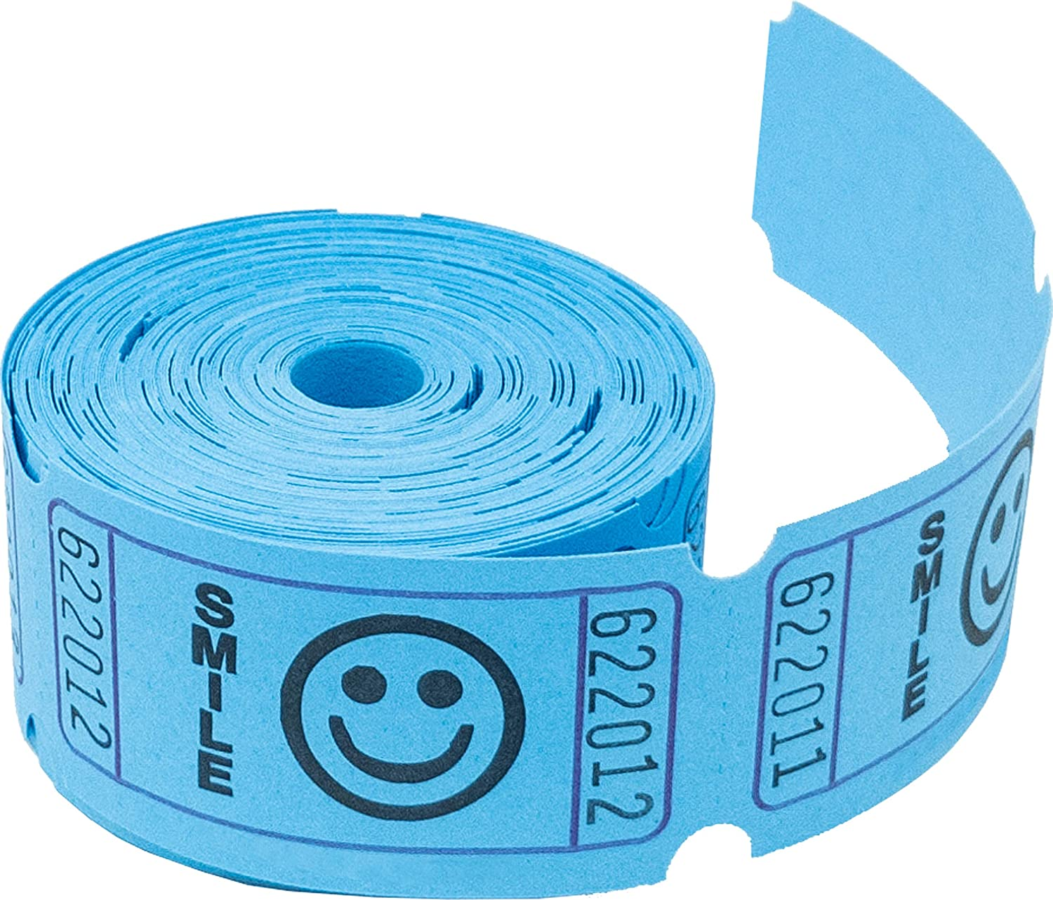 Tacticai 200 Blue Raffle Tickets (8 Colors Available) for Events, Entry, Class Reward, Admittance, or Fundraising, Tear Away Tickets, Brightly Colored Paper (Single Roll - Smile) - Made in USA