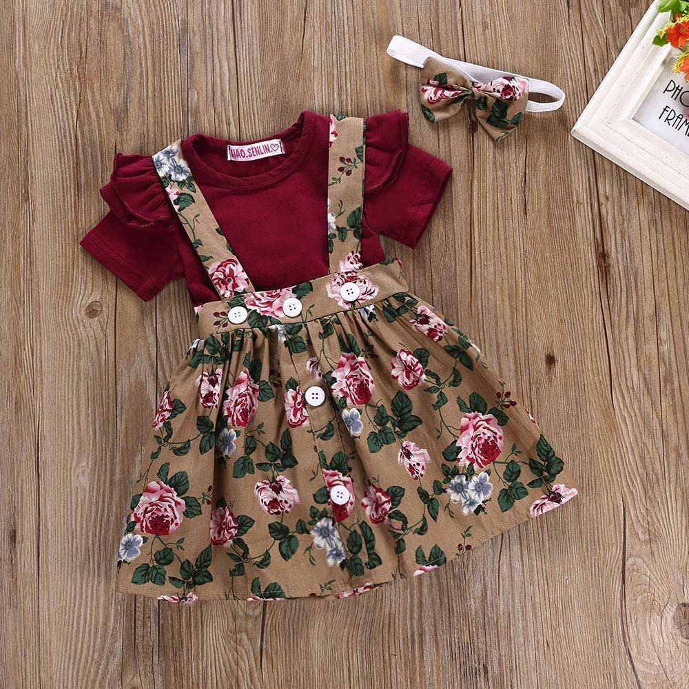 0-2Years,Zimuuy Toddler Kids Baby Girl Cotton Floral Romper Jumpsuit Bow Hairband Clothes Sets Outfits