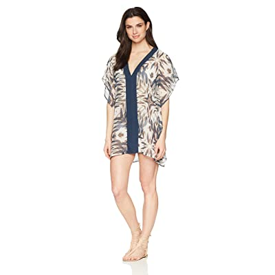 Brand - Coastal Blue Women's Swimwear Center Front Border Caftan Cover Up: Clothing
