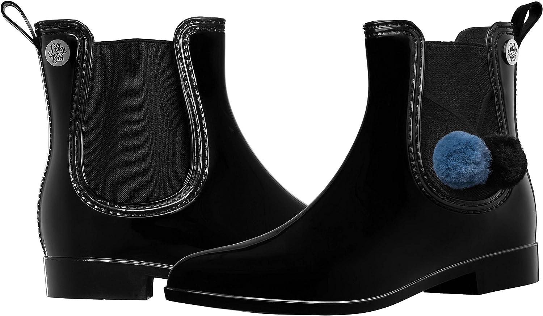 Silky Toes Women's Fashion Elastic Slip On Short Rain Boots with Pom Pom/Tassels