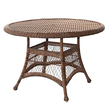 44.5u201d Honey Resin Wicker Weather Resistant All Season Outdoor Patio Dining  Table